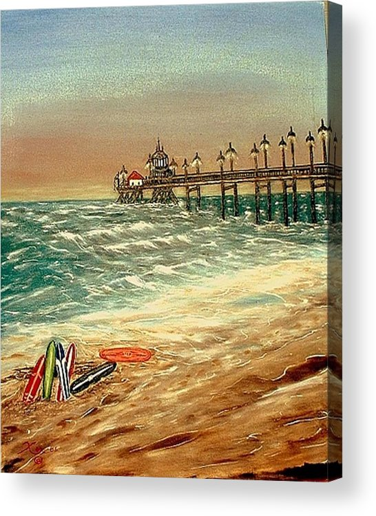 Ocean Sirfboards  Pier Acrylic Print featuring the painting Ocean Pier by Kenneth LePoidevin