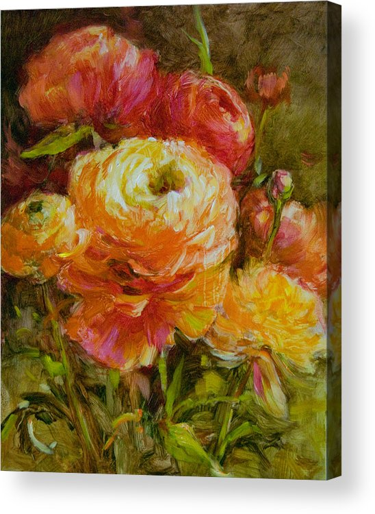 Flowers Acrylic Print featuring the painting Orange Ranunculus by Tracie Thompson