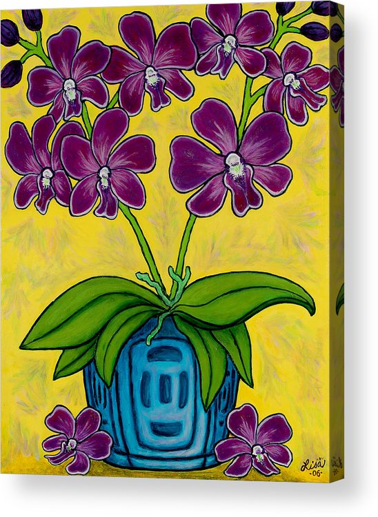 Orchids Acrylic Print featuring the painting Orchid Delight by Lisa Lorenz