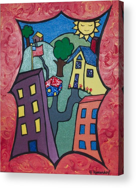 Acrylic Print featuring the painting Our Town by Jennifer Hernandez