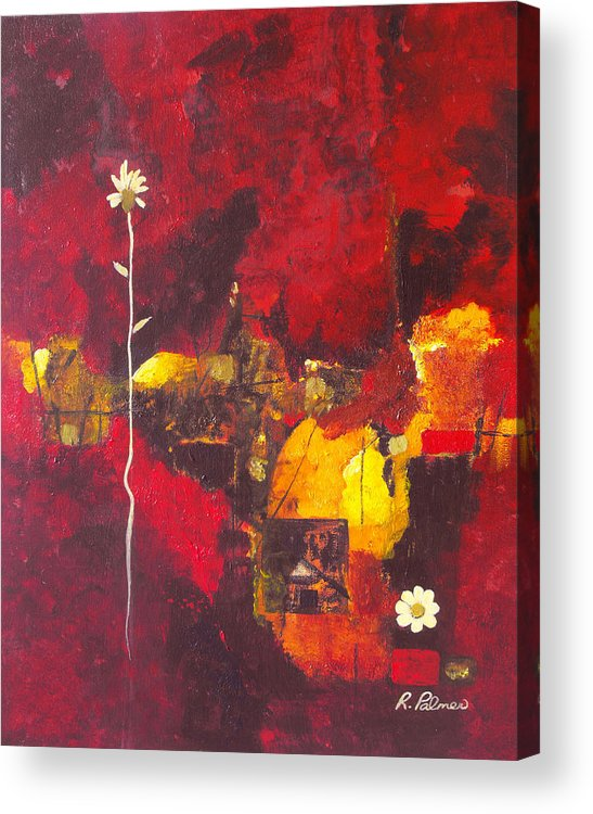 Abstract Acrylic Print featuring the painting Over The Broken Fence by Ruth Palmer