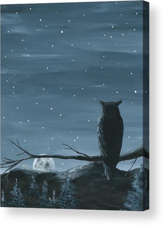 Owl Acrylic Print featuring the painting Owl And The Moon by Christine StPierre