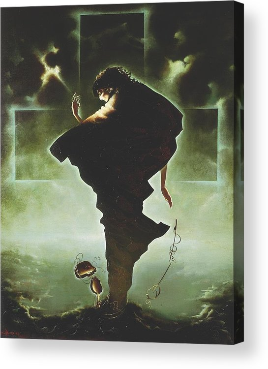 Figures Acrylic Print featuring the painting Paganini by Andrej Vystropov