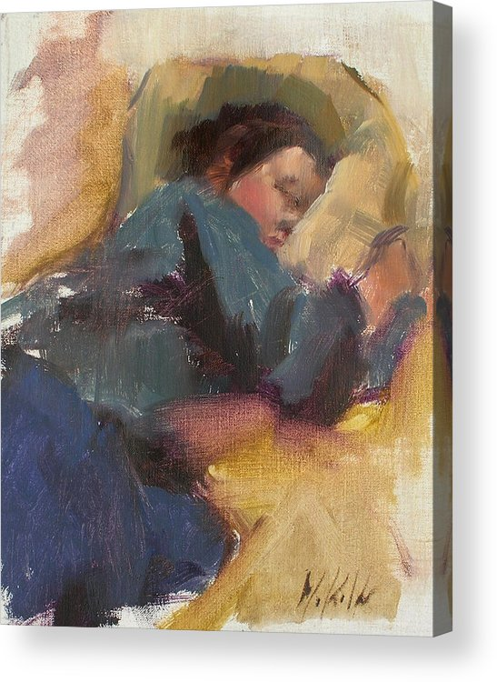 Figurative Acrylic Print featuring the painting Pam Resting by Merle Keller