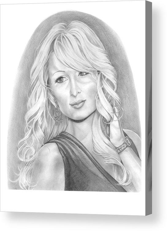 Portrait Acrylic Print featuring the drawing Paris Hilton by Murphy Elliott