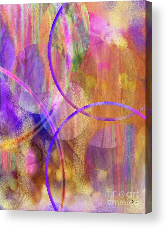 Pastel Planets Acrylic Print featuring the digital art Pastel Planets by John Beck