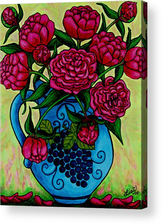 Peonies Acrylic Print featuring the painting Peony Party by Lisa Lorenz