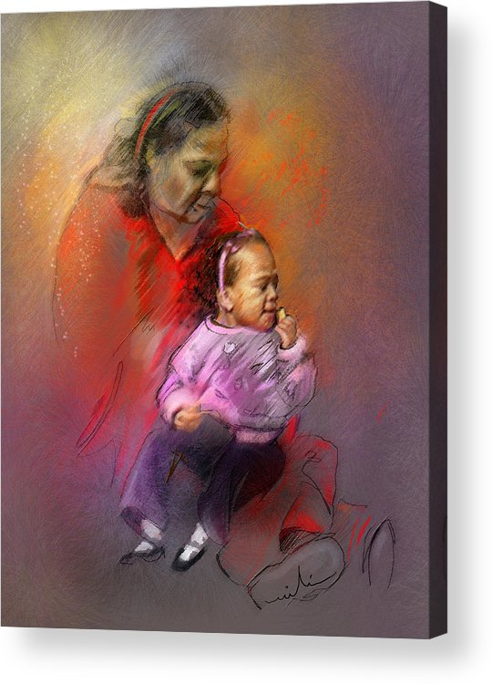 Mother Acrylic Print featuring the painting People From Memphis 03 Bis by Miki De Goodaboom