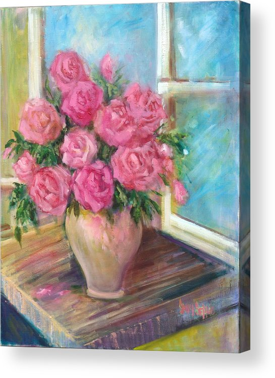 Flowers Acrylic Print featuring the painting Pink Roses by Sally Seago