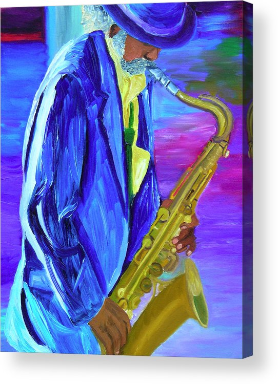 Street Musician Acrylic Print featuring the painting Playing The Blues by Michael Lee