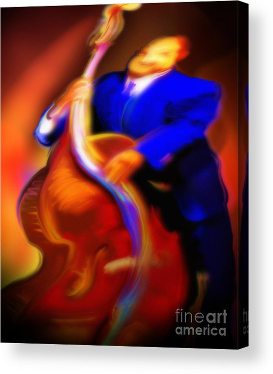 Jazz Art Acrylic Print featuring the painting Play'n Left by Mike Massengale