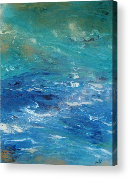 Contemporary Sea Acrylic Print featuring the painting Plongee Dans Le Merveilleux by Annie Rioux