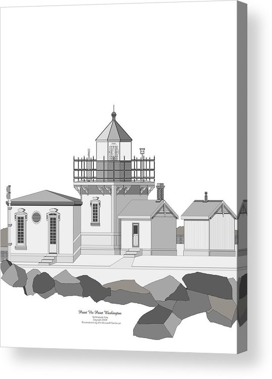 Lighthouse Acrylic Print featuring the painting Point No Point As Architectural Drawing by Anne Norskog