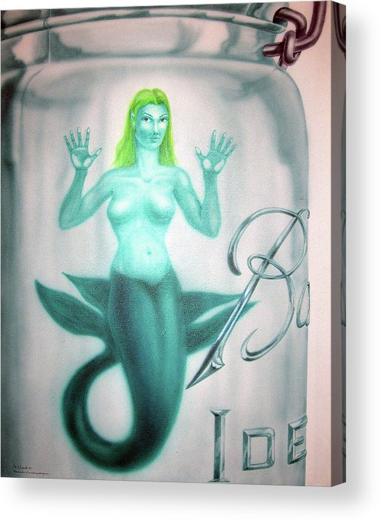 Mermaid Acrylic Print featuring the painting Preservation Of An Endangered Species by Michael Fencik