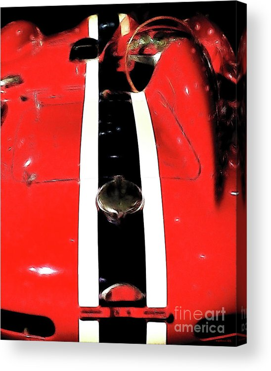 Red Farrari Acrylic Print featuring the photograph Racing Stripes by Wingsdomain Art and Photography