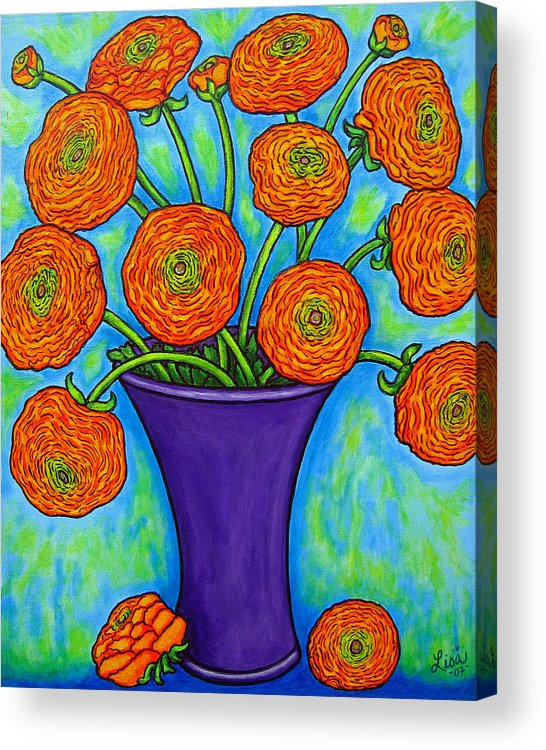 Green Acrylic Print featuring the painting Radiant Ranunculus by Lisa Lorenz