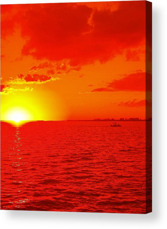Abstract Acrylic Print featuring the photograph Red Sea Boating by Florene Welebny