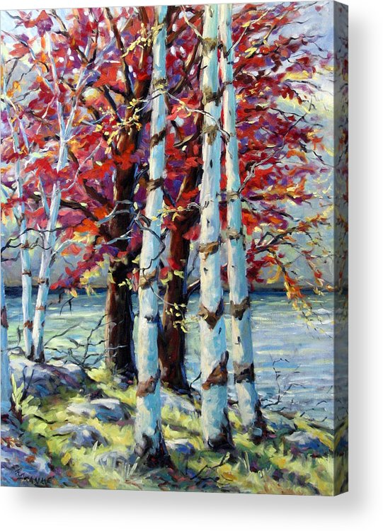 Birches Acrylic Print featuring the painting Red Splash by Richard T Pranke