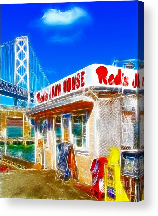 San Francisco Acrylic Print featuring the photograph Red's Java House Electrified by Wingsdomain Art and Photography