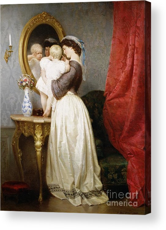 Reflections Acrylic Print featuring the painting Reflections Of Maternal Love by Robert Julius Beyschlag