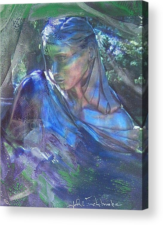 Womans Face Acrylic Print featuring the mixed media Remembering by John Vandebrooke