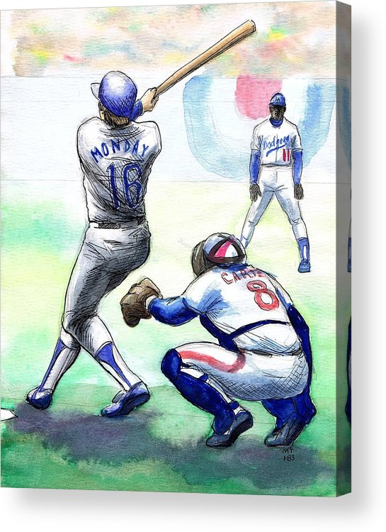 Nostalgia Acrylic Print featuring the drawing Rick Monday by Mel Thompson