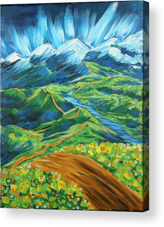 Flowers Acrylic Print featuring the painting Roads In The Wilderness by Gary Rowell
