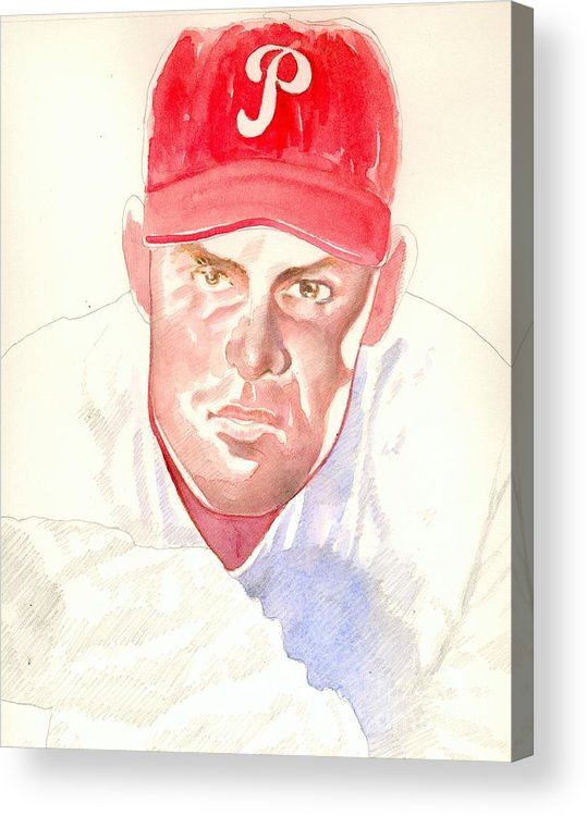 Sports Acrylic Print featuring the painting Robin Roberts In Progress by Robert Myers