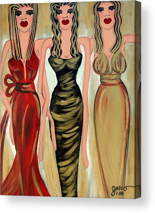 Figures Acrylic Print featuring the painting Rodeo Drive by Helen Gerro