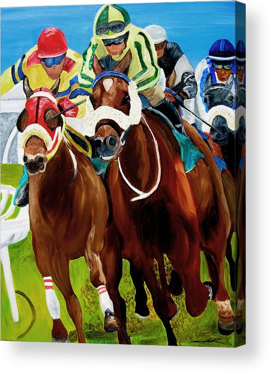 Horse Racing Acrylic Print featuring the painting Rounding The Bend by Michael Lee