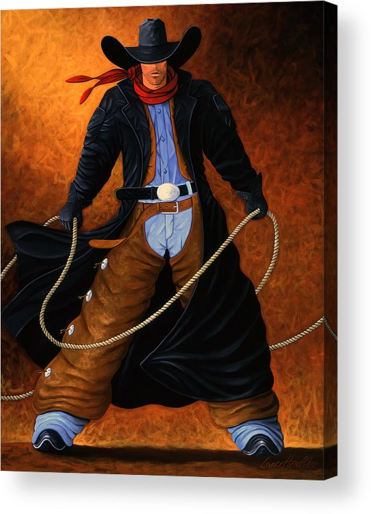 Cowgirl Acrylic Print featuring the painting Rowdy by Lance Headlee
