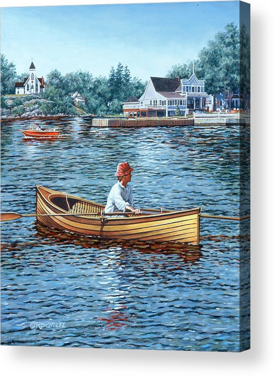 Rockport Acrylic Print featuring the painting Rowing To Rockport by Richard De Wolfe
