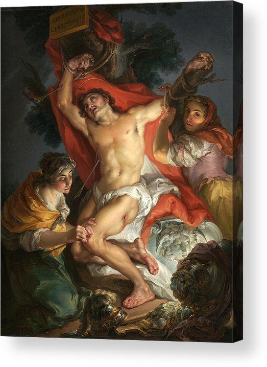 Vicente Lopez Y Portana Acrylic Print featuring the painting Saint Sebastian Tended By Saint Irene by Vicente Lopez y Portana