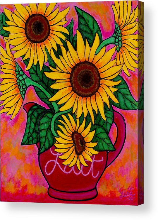 Sunflowers Acrylic Print featuring the painting Saturday Morning Sunflowers by Lisa Lorenz