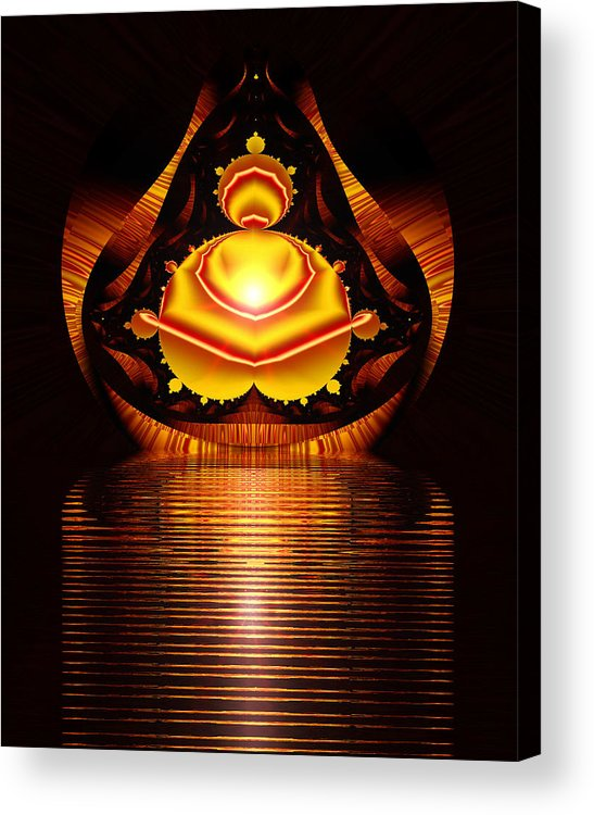 Digital Acrylic Print featuring the digital art Seated Buddha by Roger Soule