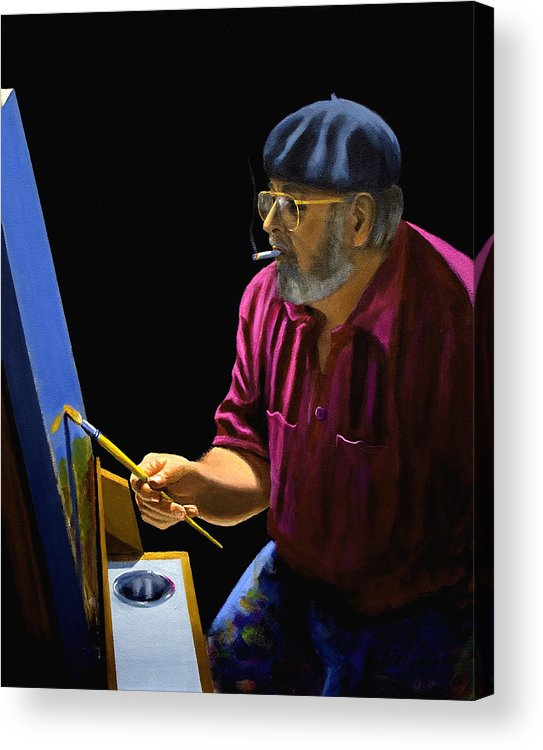 Portrait Acrylic Print featuring the painting Self Portrait by Brooke Lyman