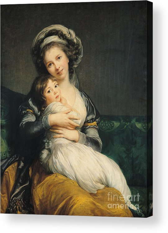 Self Acrylic Print featuring the painting Self Portrait In A Turban With Her Child by Elisabeth Louise Vigee Lebrun