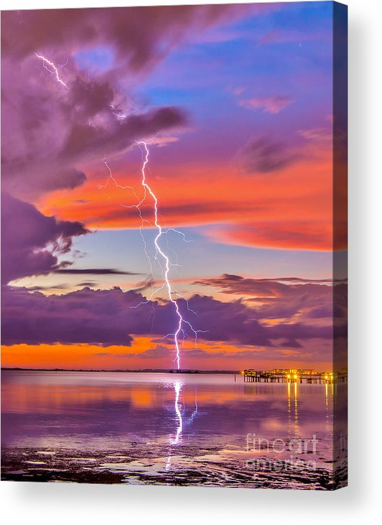 Sunset Acrylic Print featuring the photograph Shocking Pinks Sunset by Stephen Whalen
