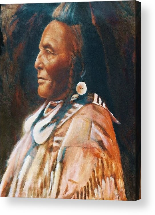 Native American Acrylic Print featuring the painting Shot In The Hand by Elizabeth Silk