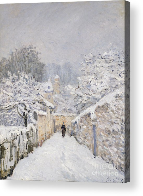 Snow Acrylic Print featuring the painting Snow At Louveciennes by Alfred Sisley