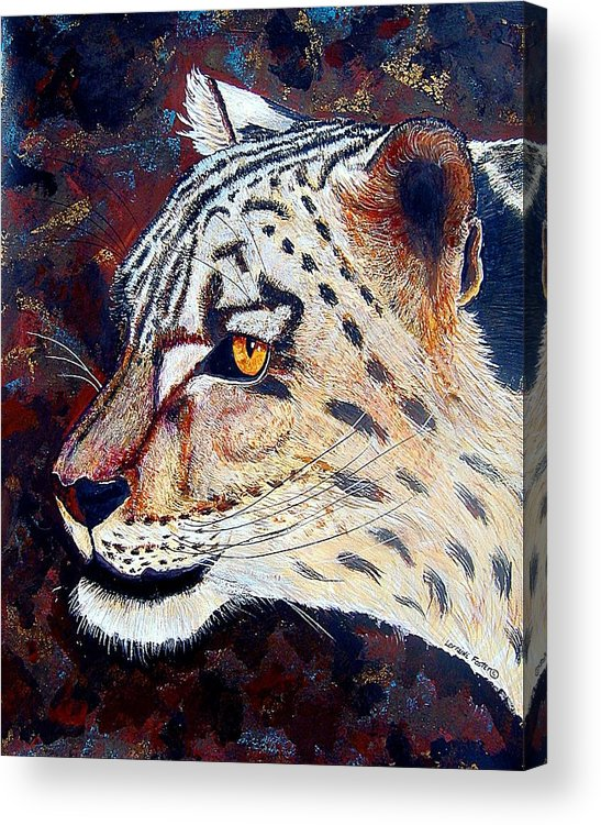 Acrylic Print featuring the mixed media Snow Leopard by Lorraine Foster