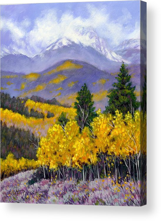 Rocky Mountains Acrylic Print featuring the painting Snowing In The Mountains by John Lautermilch