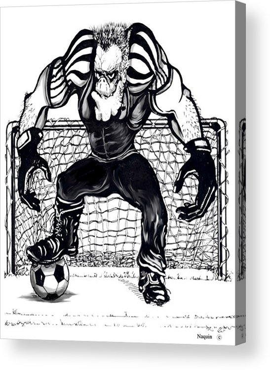 Cartoon Acrylic Print featuring the drawing Soccer Goalie by Keith Naquin