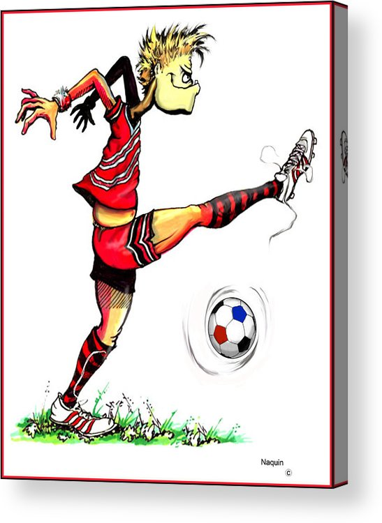 Cartoon Acrylic Print featuring the drawing Soccer Striker by Keith Naquin