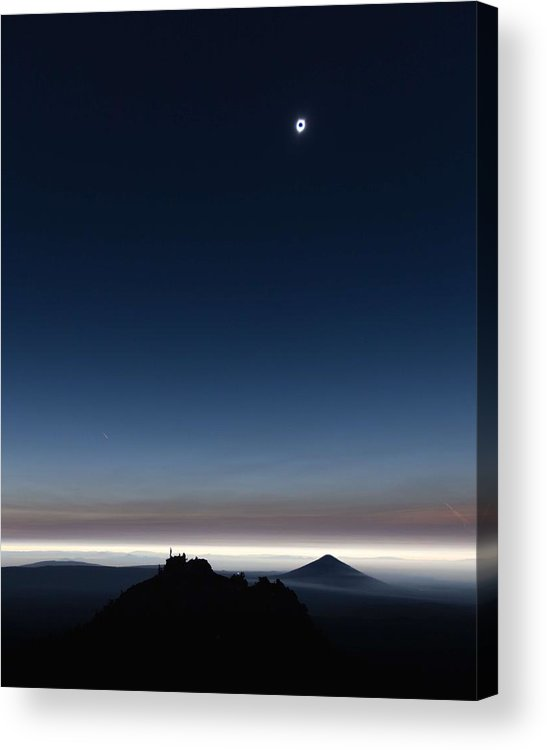 Sun Acrylic Print featuring the painting Solar Eclipse, Corona by Celestial Images