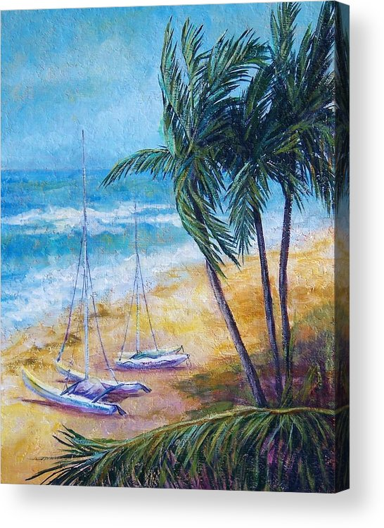 Seascape Acrylic Print featuring the painting Soliman Bay by Candy Mayer