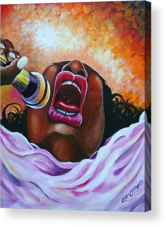 Biglady Acrylic Print featuring the painting Souful by Arthur Covington
