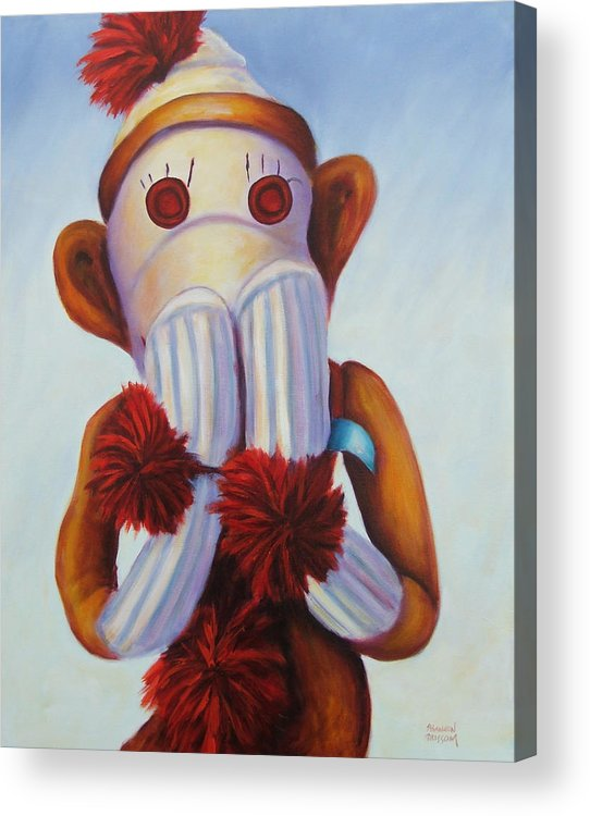Children Acrylic Print featuring the painting Speak No Bad Stuff by Shannon Grissom