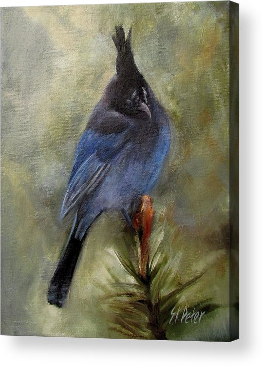 Mountain Acrylic Print featuring the painting Stellar Of A Bird by Mary St Peter