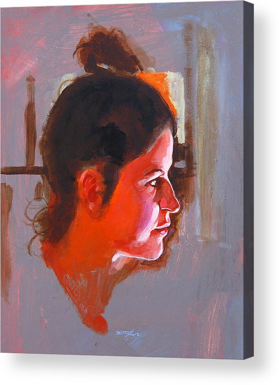 Portrait Acrylic Print featuring the painting Stephanie by John Tartaglione